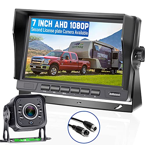 DoHonest V22 AHD 1080P RV Backup Camera 7'' LCD Monitor Driving High-Speed Rear View Observation Plug and Play System for Trailer,Truck,Fifth Wheel Super 6 IR Night Vision Long-Lasting Metal Material