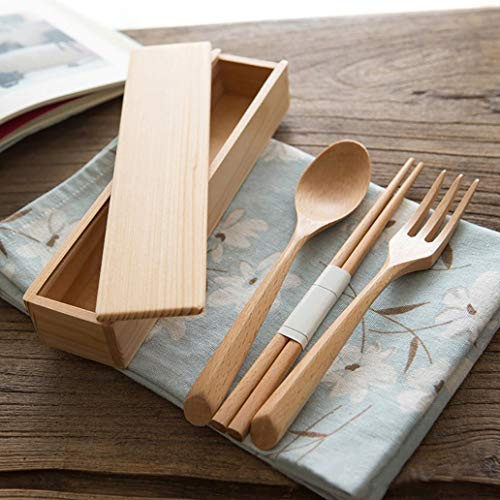 lamta1k Besteck,4Pcs Tragbare Holz-Gabel-L?ffel Essst?bchen Box Au?en Reise Camping Besteckset - Khaki