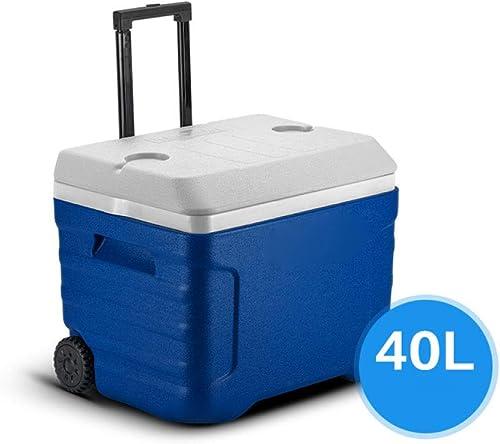 POIUYT 100L Maison en Plein Air Portable Grand Cool Box avec Roues Et Poignées Pliantes Voiture Camping Plage Pique-Nique Glace Nourriture Isolé PU Refroidisseur De Bière,bleu-40L
