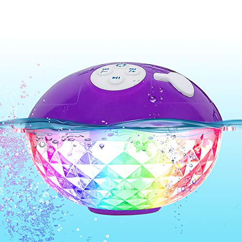 Portable Bluetooth Speakers Wireless Colorful Lights Show,IPX7 Waterproof Floating Pool Speaker,Built-in Mic Crystal Clear Stereo Sound Shower Speaker 50ft Range for Home Party Outdoor Beach Travel.
