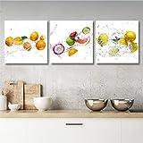 Quadri L&C ITALIA Quadri Cucina Frutta Tris Quadretti Piccoli 25 x 25 Stampa su Tela Canva...