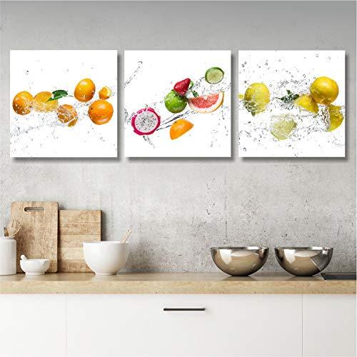 Quadri L&C ITALIA Quadri Cucina Frutta Tris Quadretti Piccoli 25 x 25 Stampa su Tela Canvas Decorazioni da Parete per Arredamento