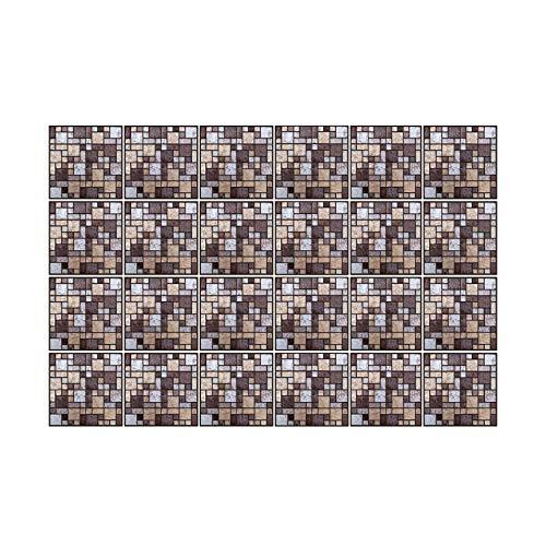 WALPLUS 24 pegatinas de mosaico de piedra marrón y beige de 15 cm, para decoración del hogar, decoración de azulejos de cocina, para azulejos de cocina, para azulejos de cocina