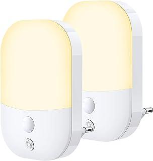 Lot de 2 Veilleuses LED, Lampe Nuit Automatique 5 Niveau Luminosité avec Capteur de Crépuscule, Veilleuse Enfant Plug and ...