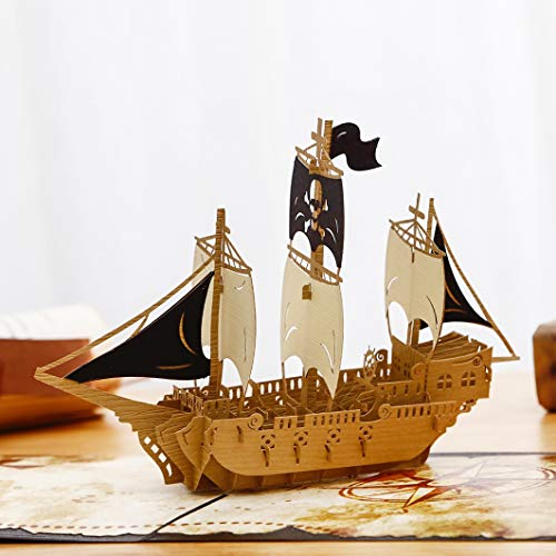 Liif Pirates Ahoy Father's Day Pop Up Card Card, 3D Ship Card, Pop Up...