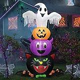 8FT Halloween Ghost Inflatables, Ghosts Pumpkins Fledermaus Schwarze KatzeAufblasbar Deko Halloween Dekoration, mit eingebauten LEDs Aufblasbare Outdoor Yard Dekorationen für Halloween Party