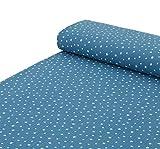 Nadeltraum Baumwoll - Musselin Stoff Sterne in Jeansblau -