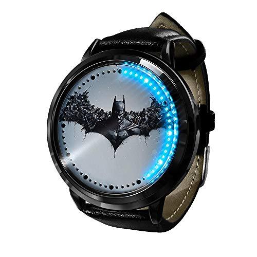 Avengers Serie Batman Boys, LED Uhr wasserdichte analoge Quarzuhr Edelstahl Lederarmband Uhr Modeuhr Unisex Boy Girl Geschenk-A7