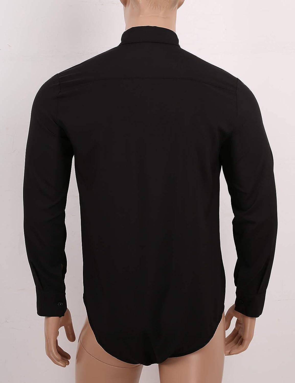 iiniim Men's Long Sleeve Undershirt Press Botton Crotch Dress Shirt Bodysuit Top Button Down Shirts