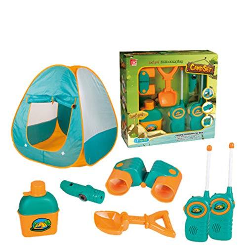 LZNK Juego de Carpa de Camping para niños. Juego de 6 Piezas con telescopio walkie-Talkie. Juego de casa de Juego de Juguete de Playa Salvaje.