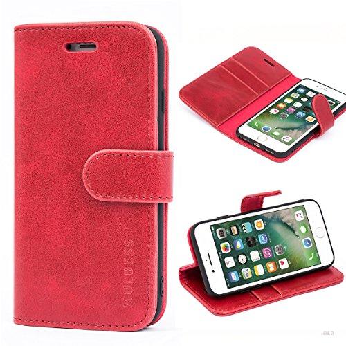 Mulbess Handyhülle für iPhone SE 2020 Hülle Leder, iPhone 8 Handy Hüllen, Vintage Flip Handytasche Schutzhülle für iPhone 8/7 / SE 2020 (4.7 inch) Case, Wein Rot