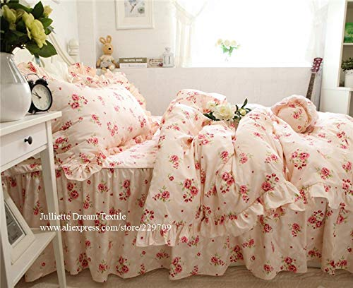 LEV Bedding Sets - hot pastoral rose print bedding set ruffle duvet cover bed sheet wrinkle bedspread princess elegant bedding dobby bed clothes 1 PCs