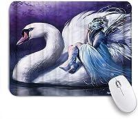 MISCERY マウスパッド 白鳥の天使 高級感 おしゃれ 防水 端ステッチ 耐久性が良い 滑らかな表面 滑り止めゴム底 24cmx20cm