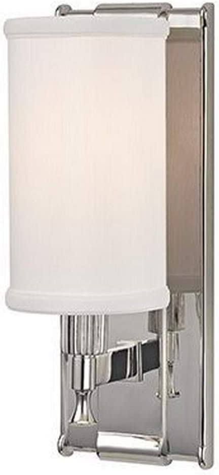 Amazon Com Hudson Valley Lighting 1121 Pn Palmdale One Light Wall Sconce Polished Nickel Finish With White Faux Silk Shade Home Improvement