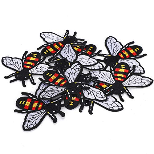 Apliques con motivos bordados, parches de hierro, pegatinas de tela con bordado de abejas, manualidades de bricolaje, colores brillantes para bolsos, maletas, zapatos, abrigos, pantalones,