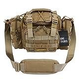 OneTigris MOLLE Taktische Schultertasche Hüfttasche Kompakte Tragetasche mit Schultergurt, Verbesserte Version (Braun-1)