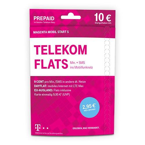 Telekom MagentaMobi Start S Prepaid-Karte mit Flat zu einer persönlichen Zielrufnummer sowie Telefonie und SMS Flat ins Mobilfunknetz