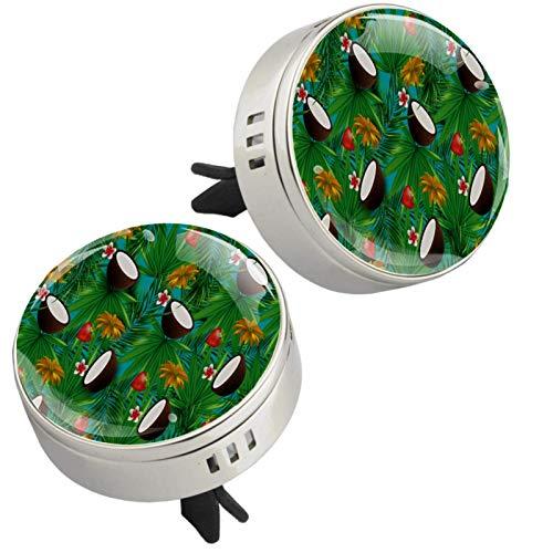 Z&Q Difusor de aromaterapia para Coche Flor de Coco Fresa ambientador con Clip de ventilación y Almohadillas de Recambio para el Interior del Coche 2 Unidades 33.8mmX46.4mm