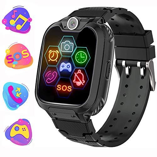 Reloj Inteligente para Niños de Pantalla Táctil con Juego de Música - Smartwatch para Niños Niña 3-12 Años (Tarjeta SD de 1GB incluida Relojes Inteligentes con Llamada SOS Cámara calculadora,Negro