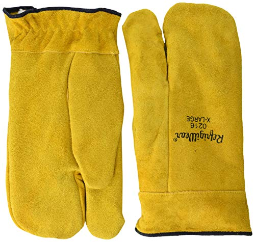 RefrigiWear Sherpa Lined Three Finger Split Cowhide Leather Mitten Gloves (Gold, Large)