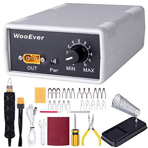 WooEver Professional Wood Burning Kit, Adjustable Temperature Control Wood Burning Tools with 20 Wire Tips Pyrography Machine for Wood Leather and Gourd - White