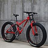 Bicicletas de montaña de 26 pulgadas, MJH-01 Adulto 4.0 Fat Tire Mountain Trail Bike,Bicicleta de 24 velocidades, marco de acero de alto carbono doble suspensión completa freno de disco