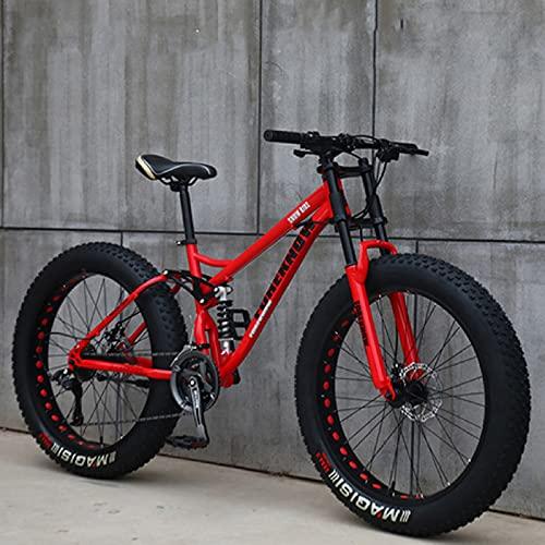 Bicicletas Montaña 26 Pulgadas, MJH-01 Bicicleta de Montaña de Neumáticos de Grasa Adultos, 24 Velocidades, Marco de Acero de Alto Carbono Doble Suspensión Completa Freno de Disco - Negro/Cian
