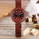 FFHJHJ Holzuhr Damen Holzuhren Einzigartige kleine süße Zifferblatt Quarzuhr Damenkleid Holz Armreif Uhr Umwelt, Uhr mit Box