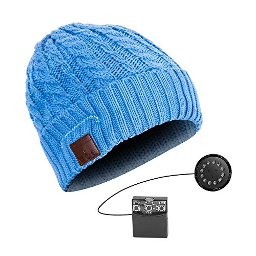 YI WORLD Smart Casquette Bluetooth Beanie (oreillette Bluetooth Hat) Fil Casque Music Hat Microphone intégré Répondre aux appels Équipement, Blue