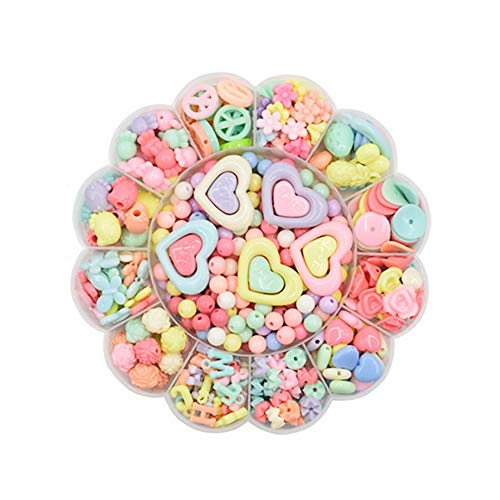 470pcs DIY Beaded, Children DIY Bead Set Beads Rainbow Abalorios Opacos para Hacer Diadema, Collar, Pulsera, Kit de Fabricación de Joyas para Niños y Niñas