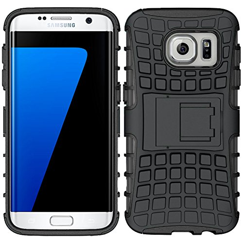 ebestStar - Funda Compatible con Samsung S7 Edge Galaxy SM-G935F G935 Carcasa Robusta Shock-Absorción Rigida Silicona Case, Negro [Aparato: 150.9 x 72.6 x 7.7mm, 5.5'']