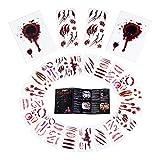 Joyjoz Tatuajes Temporales de Disfraz Halloween niña, niño, Mujer, Hombre, 24piezas Maquillaje Pegatinas de Cara Sangre Falsa para Decoraciones de Carnaval Fiesta de Cosplay