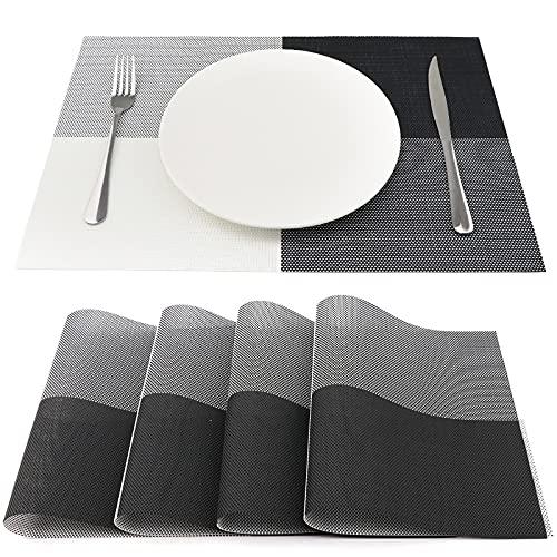 SueH Design Lot de 4 Sets de Table 45 * 30 CM Vinyle Tissé Noir