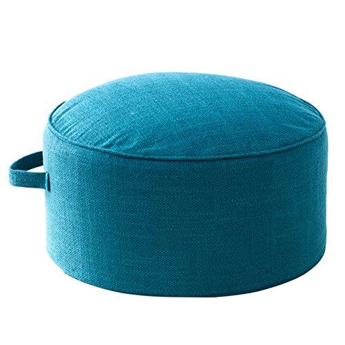QSCV Desmontable Caja De Lino Cojín De Suelo Otomano,Suave Redondo Escabels Tatami Cojines,Salon Dormitorio Acolchado Grueso Muebles Pequeños-Azul 17.3'x8.6'