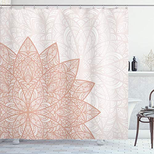 Ambesonne Ethnic Shower Curtain, Floral Mandala Middle Eastern Oriental Swirled Lines Art Print, Cloth Fabric Bathroom Decor Set with Hooks, 84' Long Extra, Pale Salmon