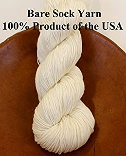 Bare Fingering Sock Yarn 90/10 Superwash Merino Nylon Undyed Naked Ecru for Dyeing Knitting Crochet