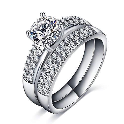 Heart beat Platinum Color Dazzling White AAA Cubic Zrn Stone Studded Couple Rings/Promise Rings For Women & Men/Men