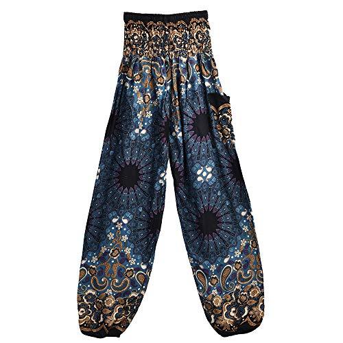 EUZeo Unisex Boho Mandala Drucken Yoga Hosen Länge Capri Damen Herren Hohe Taille Indisch Sporthose Bunte Yogahosen Bloom Hosen
