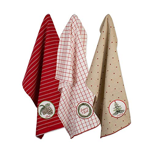 DII, 100% Cotton Holiday Dishtowels, Decorative, Oversized, 18x28, 3 Pack , Noel