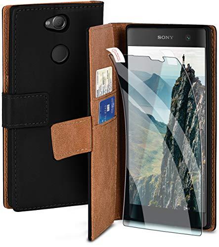 moex Handyhülle für Sony Xperia XA2 Plus - Hülle mit Kartenfach, Geldfach & Ständer, Klapphülle, PU Leder Book Hülle & Schutzfolie - Schwarz