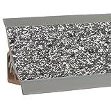 HOLZBRINK Copete para encimera de cocina, granito oscuro, listón de acabado PVC, listón de encimera 23x23 mm 150 cm