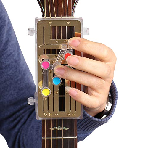 Gitarren-Lern-System, Akkordel-Lernsystem, klassische Gitarre, Übungshilfe, Ein-Tasten-Unterstützung, Lernwerkzeug für Erwachsene und Kinder silber