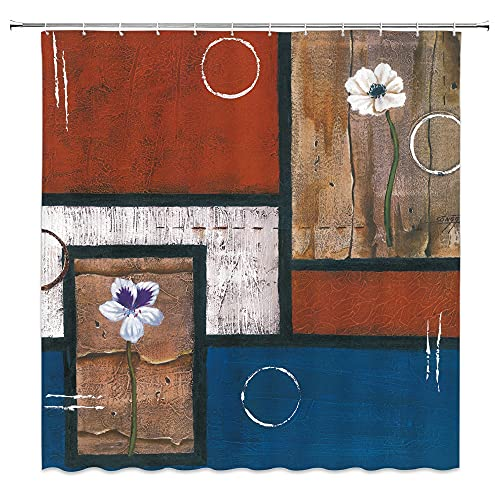AFDSJJDK Cortina de cortina con patrón azul abstracto moderno Bauhaus impermeable tela de poliéster cortina de ducha