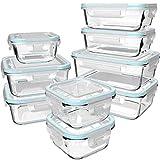GENICOOK Glas-Frischhaltedose Set/Vorratsdosen Glas mit Deckel/Meal prep Boxen/Aufbewahrungsbehälter/Lebensmittelbehälter - Geschirr für mikrowelle-LFGB-zugelassen für Home Küche(9er-Set