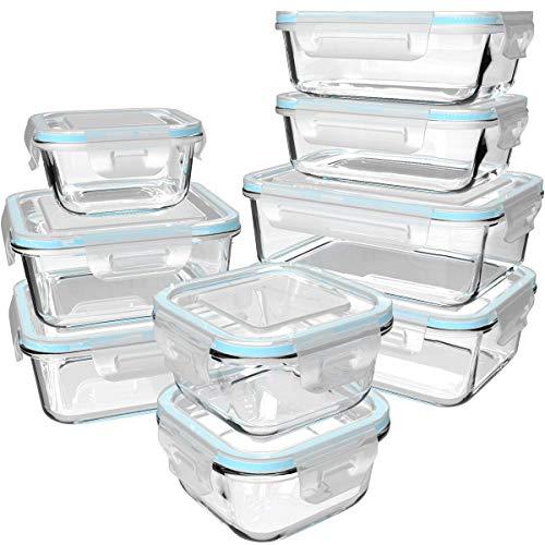 GENICOOK Glas-Frischhaltedose Set 9er, Mikrowellengeschirr Glas, aufbewahrungsbox Glas mit Deckel für küche,lebensmittelaufbewahrung Glas, Meal prep Boxen Glas, BPA-frei-Glasbehälter