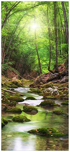 Wallario Selbstklebende Türtapete Fluss im Wald - 93 x 205 cm in Premium-Qualität: Abwischbar, Brillante Farben, rückstandsfrei zu entfernen