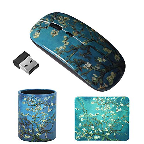LIZIMANDU Gaming Mouse and Mouse Pad Set,Wireless Computer Mouse | Mouse Pad for Home, Office (3 Pieces, MP3-Peach Blossom)