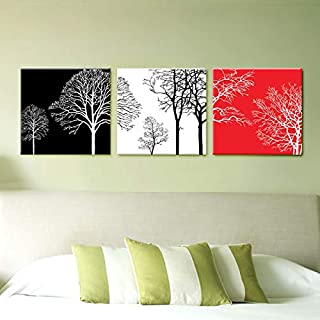Prints on Canvas FYSKJDG 3 Pieces Set Modern Abstract Tree Painting On Canvas Black And White Tree Picture Home Decoration...