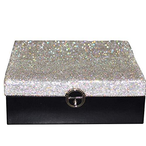 Juwelen opbergbox grote diamanten sieraden doos met Diamond W12 / 18 (Kleur: Zwart, Maat: 25,3 * 25,3 * 8,8 cm) lili (Color : Black, Size : 25.3 * 25.3 * 8.8cm)