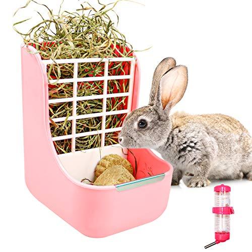 Comedero automático 2 en 1 para conejos, heno, cerdo, accesorio para conejos,...